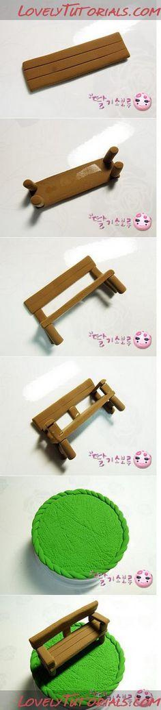 Fondant wooden bench tutorial