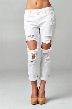 White Destroyed Boyfriend Jeans