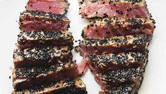 2 sesame crusted ahi tuna steaks sliced on a white plate Tuna Steak Recipes, Low Carb Shrimp Recipes, Garlic Recipes, Keto Recipes, Bacon Recipes, Sesame Crusted Tuna, Cheesesteak Stuffed Peppers, Seared Tuna, Keto Chocolate Cake