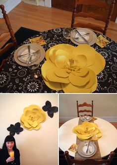 a cool paper flower to decorate a table or a wall.... picture paper flowers of different sizes in two contrasting colors like this yellow and black streaming on the wall. Kinda cool