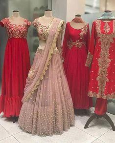 Attending Sangeet Soon? Shop These Inspired Hand Work Lehenga Cholis By Aynaa 👗 Indian Wedding Gowns, Indian Bridal Lehenga, Indian Gowns Dresses, Indian Bridal Outfits, Indian Fashion Dresses, Indian Designer Outfits, Red Lehenga, Designer Dresses, Gown Wedding