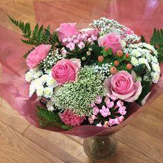 Bouquet in glass vase #pallotsflorist #cheapside #sthelier #jersey #jerseyci #florists