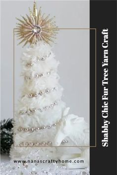 Learn how to make a shabby chic style fur yarn tree with this tutorial! A fun and easy fur yarn craft project that will look fantastic with your holiday home decor! Fast & easy - project project for the kids, too! #nanascraftyhome Christmas Tree Yarn, Christmas Bead Garland, Christmas Tree Decorations, Christmas Crafts, Christmas Stuff, Christmas Crochet Patterns, Crochet Christmas, Yarn Trees, Fur Tree