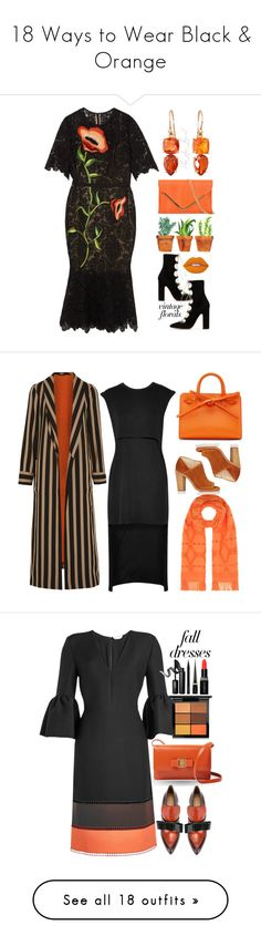 """""""18 Ways to Wear Black & Orange"""" by polyvore-editorial ❤ liked on Polyvore featuring blackandorange, Valentino, Lime Crime, Irene Neuwirth, Lela Rose, vintage, valentino, LaceUpBoots, mididress and autumnstyle"""