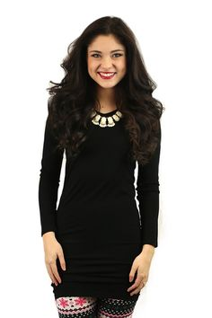 Seamless Perfection Long Sleeve Reversible Tunic Dress in Black