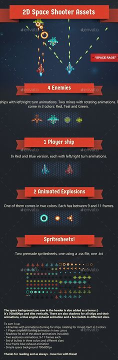 2D Animated Space Shooter Assets 'Space Rage' - Sprites Game Assets