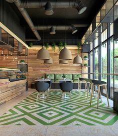 Clean food cafe Fortes on Behance #restaurantdesign