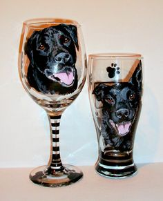 Pet Portrait Custom Hand Painted Wine and Beer Glasses of Your Dog Cat Horse  Pet  On 2 - 20 oz. & 19 oz. Pilsner Black Labs by SharonsCustomArtwork on Etsy