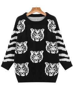 Shop Black and White Tiger Print Striped Sweater online. Sheinside offers Black and White Tiger Print Striped Sweater & more to fit your fashionable needs. Free Shipping Worldwide!