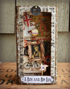 Mixed media shadow box assemblage 'A Boy and His Dog' created for a challenge at A Vintage Journey using elements from @TimHoltz 'Thrift Shop' Ephemera pack. #RangerInk #mixedmedia #shadowbox
