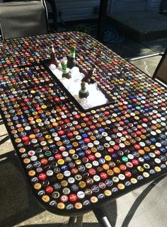 Bottlecap table with built in cooler