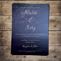 Printable Wedding Invitation Blue Wedding by soumyasinvitations