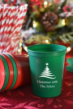 Reusable plastic stadium cups personalized with a Christmas design and up to 4 lines of custom print on the front and back make functional Christmas party decorations guests will love to take home as souvenirs of your holiday party. Available in 4 sizes and a variety of colors, these cups can be ordered at http://www.tippytoad.com/personalized-plastic-stadium-christmas-party-cups.asp
