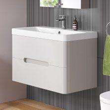 800mm Tuscany Gloss Cashmere Double Drawer Basin Unit - Wall Hung