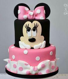 Minnie Mouse Theme Party, Minnie Mouse Birthday Cakes, Baby Birthday Cakes, Mickey Mouse Birthday, Bolo Minnie, Minnie Cake, Mickey Mouse Cake, Mickey Cakes, Mini Mouse Cake