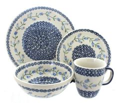 Tulip 16 Piece Dinner Set  sc 1 st  Pinterest & Red Daisy 16 Piece Dinner Set | Polish pottery Blue roses and Pottery