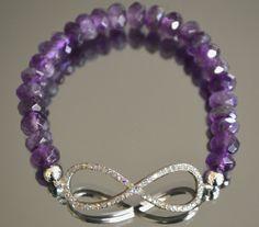Amethyst Infinity Bracelet Stretch Gemstone Bracelet by iyildiz, $25.50
