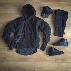 WEBSTA @ kylescropper - ⚫️ stealth ⚫️ Askyurself bomberFavela clothing hoodieRepresent stripped under teeH