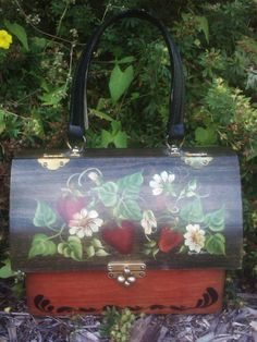 Vintage 1970s Purse/ Wooden Box / Hand Painted Strawberries Flowers