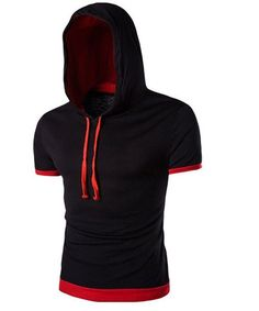 Black Men's T-Shirt with Hood