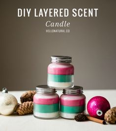 DIY: Layered Scent Holiday Candles I'm kind of hooked on making homemade candles. They are so much fun to make. (And super easy too!) The really great thing about these DIY holiday candles is that each layer is not only a different col Diy Candles Scented, Aromatherapy Candles, Homemade Candles, Soy Candles, Homemade Gifts, Diy Gifts, Homemade Potpourri, Teacup Candles, Natural Candles