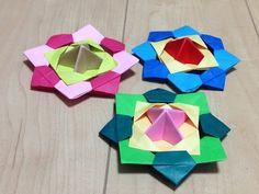 折り紙【1才児でも回せる独楽の作り方】 - YouTube