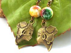 Steampunk cameo charm earrings
