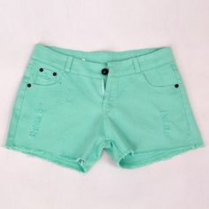 Simple Style Solid Color Holes Big Size Shorts Women Summer Denim Pants Green on buytrends.com