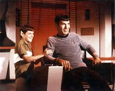 Leonard Nimoy (Spock) and his son on the set of Star Trek