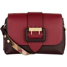 Burberry Leather Buckle Shoulder Bag ($1,320) ❤ liked on Polyvore featuring bags, handbags, shoulder bags, red leather handbags, shoulder hand bags, burberry purses, flap shoulder bag and leather handbags
