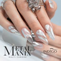MetalManix Multi Chrome by Indigo Educator Paulina Walaszczyk #nails #nail #silver #indigo #nailart #silver #aztec #mirror #metal #metalmanix #chrome #multichrome