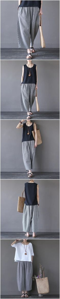 Art Causel Black White Grid Wide-legged Pants Linen Causel Women Clothes K988A Clothes will not shrink,loose Cotton fabric, soft to the touch. *Care: hand wash or machine wash gentle, best to lay flat