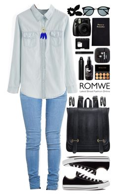 """Romwe 1"" by scarlett-morwenna ❤ liked on Polyvore featuring moda, ZooShoo, Converse, Oribe, Retrò, Leathersmith, NARS Cosmetics e Topshop"