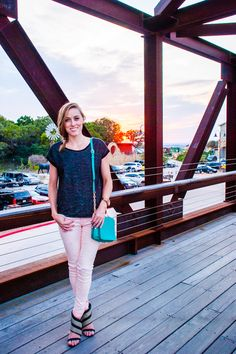 Old Navy terry sweatshirt, American Eagle pink skinnies, and heeled sandals for a casual dinner date - Gold Lion Style