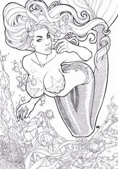Ariel, the little mermaid by LCFreitas on DeviantArt Mermaid Coloring Pages, Adult Coloring Book Pages, Cute Coloring Pages, Coloring Books, Mermaid Drawings, Sexy Drawings, Mermaid Art, Art Drawings, Arte Horror