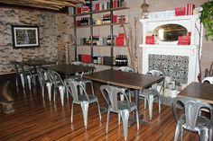Prep Kitchen, Little Italy, San Diego. AMAZING Rustic/Modern Charm. BIRCH WALLPAPER!