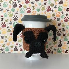 "If you are a dog lover and also love to crochet, this original HookedbyAngel Boxer Mug Cozy pattern is for you! I include lots of pictures and ""Angel's Tips"" to make this an easy and fun project to do! It is easy to customize to resemble your dog, simply choose your yarn colors accordingly!"