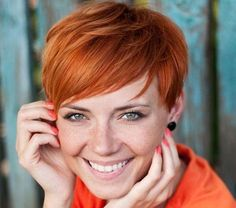 Red Straight Pixie Hairstyle   Casual, Everyday, Summer   Careforhair.co.uk