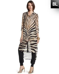 Chico's Black Label Dramatic Animal Tunic