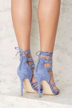 Nasty Gal Wrap in the Face Heels - Blue - Heels | All Party