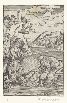 Jacob verrijkt zich met schapen uit kudde van Laban, Lucas Cranach (I), 1528 - 1554 Martin Luther, Lucas Cranach, Renaissance, Totems, Gravure, Tarot Decks, 16th Century, Sheep, Vintage World Maps