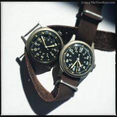 TheTimeBum: Vietnam War Era U.S. Military Field Watches---1969 Benrus (left), 1979 Hamilton (right) GG-W-113