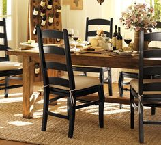 Pottery Barn Dining Roomblack Chairs An Exposed Brick Wall