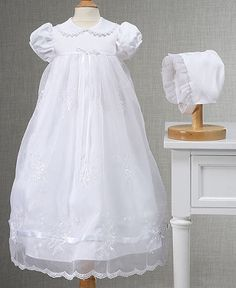 Lauren Madison Baby Girls Embroidered Christening Gown