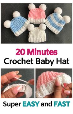 Easy Crochet Baby Hat, Crochet Baby Hats Free Pattern, Crochet Baby Hat Patterns, Crochet Baby Clothes, Crochet Hats For Babies, Newborn Crochet Hats, Crotchet Baby Hats, Free Crochet Patterns For Beginners, Knitted Baby Beanies