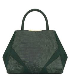 Danielle Nicole Adeline Satchel  A stunning carryall in deep green faux leather is practical for everyday, thanks to its roomy size. Luxe details, like gold-tone hardware and faux-alligator accents, make it look more expensive than it is. Also available in black, it comes with a removable strap.  To buy: $98, daniellenicole.com.