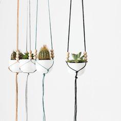 MINI Hanging Planter with Cup | Micro Plant Hanger | Modern Macrame Planter | Minimalist