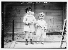 Photo taken before the 'orphans' of the Titanic were correctly identified and returned to their mother. The boys are French brothers Michel (age 4) and Edmond Navratil (age 2). To board the ship, their father assumed the name Louis Hoffman and used their nicknames, Lolo and Mamon. Their father died in the disaster of the RMS Titanic, which struck an iceberg in April 1912 and sank, killing more than 1,500 people. (Library of Congress Prints and Photographs Division Washington, D.C.)