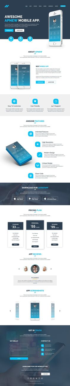 Apnew is a responsive, clean and modern designed #Bootstrap #LandingPage #Template for multipurpose website. Download Now!