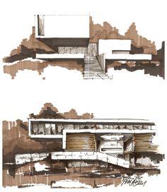 concept SKETCH almost digital pixel colouring effet architecture